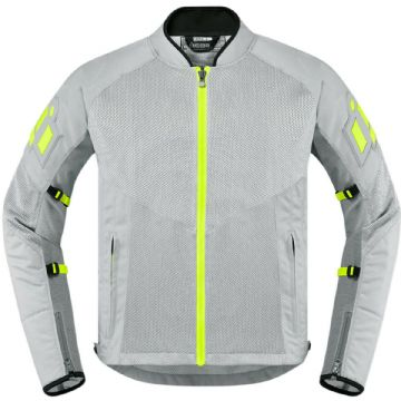 Icon Mesh AF Grey Green Mesh Summer Motorcycle Motorbike Jacket D3O Armour